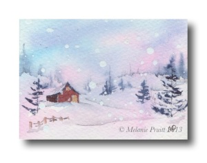 """Dreamy Winter"" Original ACEO © Melanie Pruitt 2013"