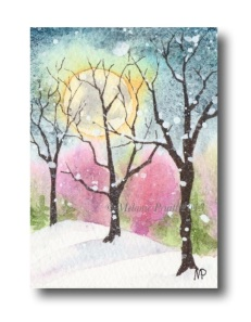 """Hear the Snow Falling"" Original Watercolor ACEO © Melanie Pruitt 2013"