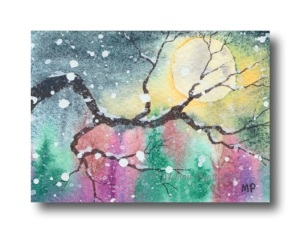 """Oak Branch and Moon"" Original ACEO © Melanie Pruitt 2013"