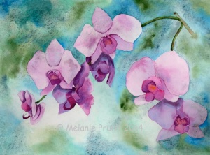 8x10 Orchid Original Watercolor © Melanie Pruitt 2014