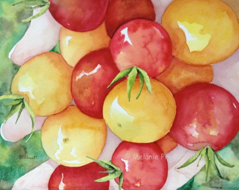 """Handful Harvest"" original 8x10  watercolor © Melanie Pruitt 2014"